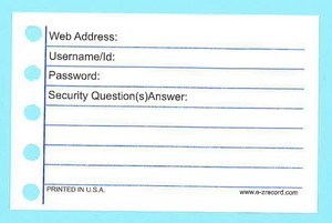 "144- Internet Address/Password Form Refill - 2 1/2"" X 3 7/8"""