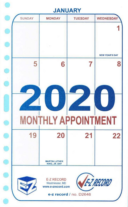 "D2646- Dated Monthly Refill- 8"" X 5"" Click here for years availlable"
