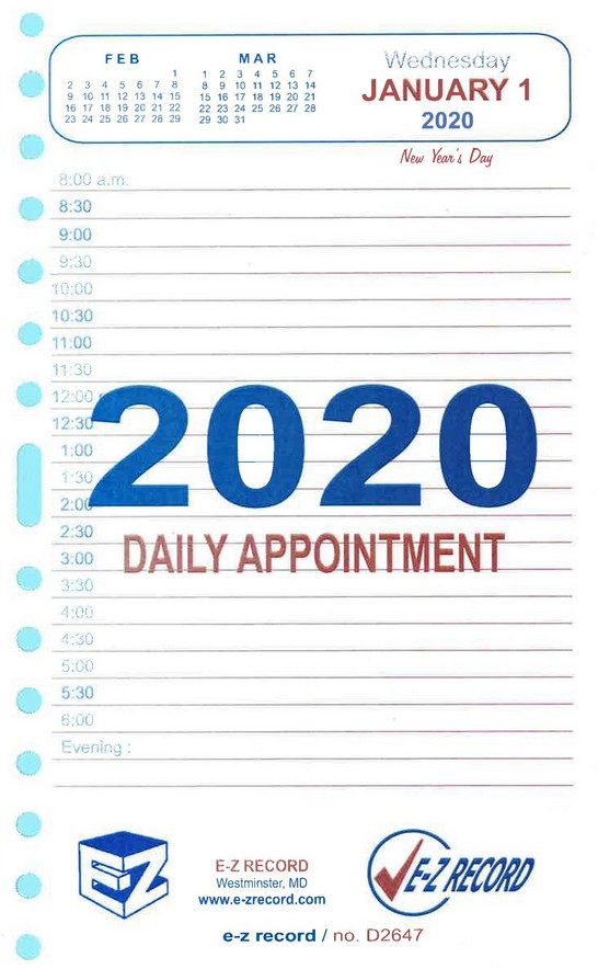 "D2647 - Dated Daily Refill - 8"" x 5"" Click here for years available"