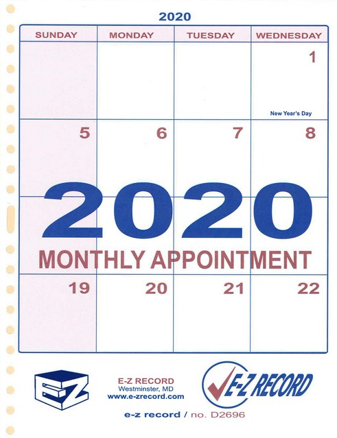 "D2696 - Dated Monthly Refill - 8 1/2"" x 11""  Click here for years available"