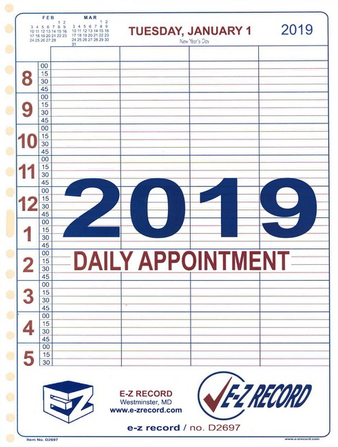 "D2697 - Professional Daily Appointment Refill - 8 1/2"" x 11""  Click here for years available"