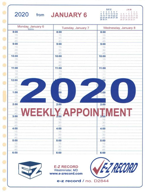"D2844 - Dated Weekly Appointment Refill - 8 1/2"" x 11""  Click here for years available"
